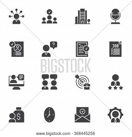 Job Interview Vector Icons Set, Modern Solid Symbol Collection, Filled Style Pictogram Pack. Signs,