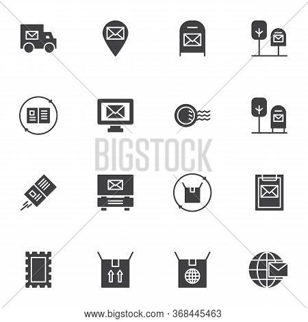 Post Delivery Vector Icons Set, Modern Solid Symbol Collection, Filled Style Pictogram Pack. Signs,