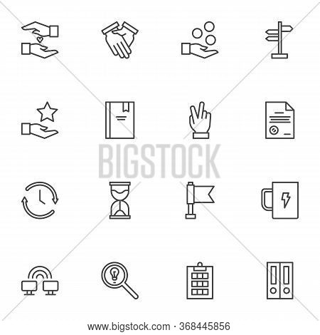 Work Productivity Line Icons Set, Outline Vector Symbol Collection, Linear Style Pictogram Pack. Sig