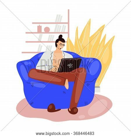 Freelance Man Work In Comfortable Cozy Home Office In Armchair Sofa Vector Flat Illustration. Freela