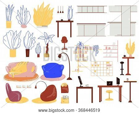 Vector Cartoon Interior Set With Furniture, Home Plants, Lamps, Tables For Work And Kitchen, Home Of