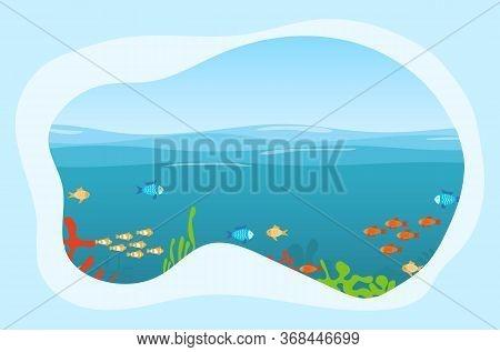 Undersea World. Sea World With Fish, Algae And Water. Vector Illustration. Vector.
