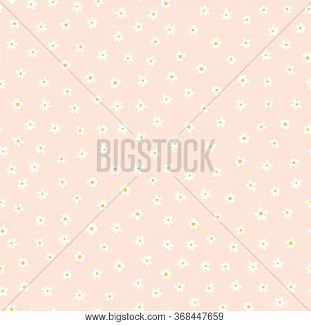 White Ditsy Flower Seamless Vector Background. Floral Pattern With Small White Flowers On Light Pink