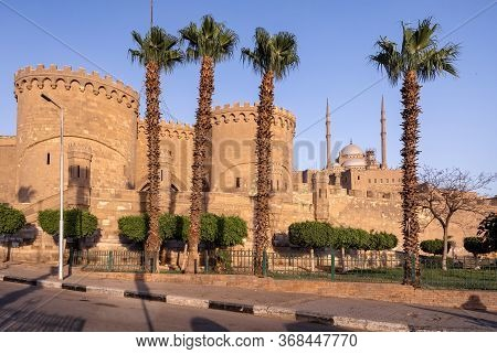 View Of Massive Ramparts And Stunning Muhammad Ali Pasha (alabaster) Mosque Of Saladin Citadel On Sa