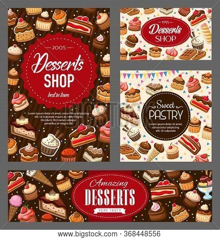 Sweet Pastry And Dessert, Vector Food Of Bakery Cupcakes, Cakes And Muffins With Chocolate Cream. Fr