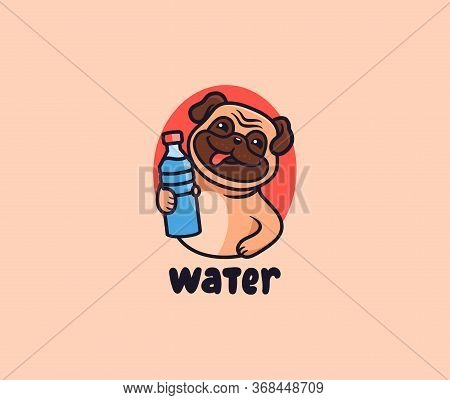 The Cute Pug With Water Logo. Puppy With Lettering