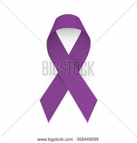 Purple Awareness Ribbon. Domestic Violence, Pancreatic Cancer, Testicular Cancer, Lupus Awareness Sy