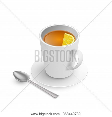 A Teacup With Saucer Isometric View Isolated On White Background. Realistic Vector. Cup Of Hot Drink