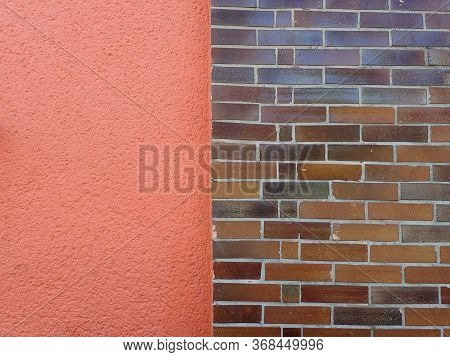 Brown Tile Brick Texture On A Red Wall