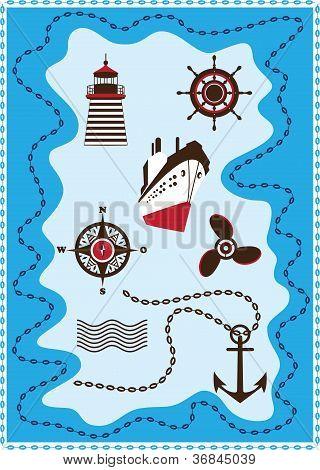 Marine, Sailing And Sea Icons, Vector Icon Set