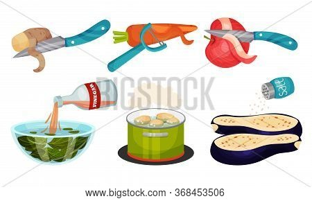 Vegetables Cooking With Potato Peeling And Eggplant Salting Process Vector Set