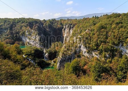 Plitvice, Croatia - September 13, 2016: This Is An Aerial Panoramic View Of The Plitvice Lakes Natio