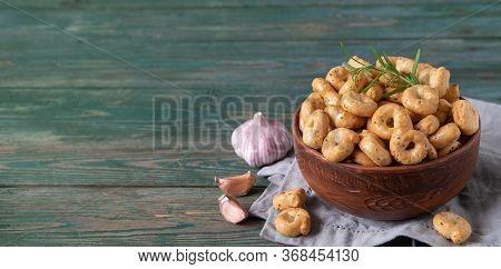 Tarallini And Taralli Biscuits Assortment, Rosemary, Garlic. Rustic Style.