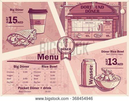 Flyer Of A Fast Food Restaurant In Dortmund, Germany. Menu, Sandwich, Burger, Water. Image Of Doner