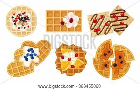 Waffles With Textured Surface And Sweet Topping With Berries And Whipped Cream Vector Set
