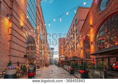 Oslo, Norway. Evening View Of Old Houses In Aker Brygge District. Summer Evening. Famous And Popular