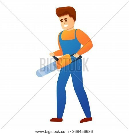 Repairman With Chainsaw Icon. Cartoon Of Repairman With Chainsaw Vector Icon For Web Design Isolated