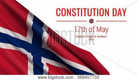 Vector Illustration With A Realistic Flag Of Norway And Text Isolated On White Background. Norwegian