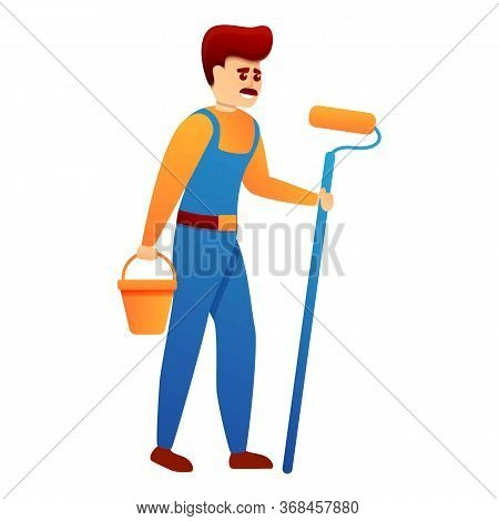 Repairman With Bucket Paint Roller Icon. Cartoon Of Repairman With Bucket Paint Roller Vector Icon F
