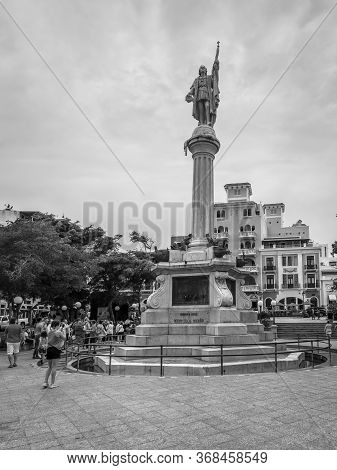 San Juan, Puerto Rico - April 29, 2019: Statue Of Christopher Columbus, San Juan, Puerto Rico, Carib
