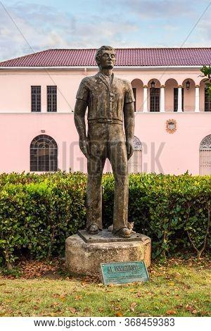 San Juan, Puerto Rico - April 29, 2019: Life-size Bronze Statue
