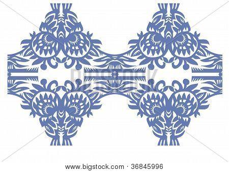 Blue Floral Decorative Vintage