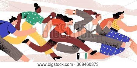 Active Cartoon Woman Running Together Vector Flat Illustration. Group Of Emancipation Modern Girl Ru