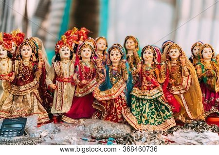 Anjuna, Goa, India - February 19, 2020: Indian Folk Dolls. National Traditional Folk Dolls Are Popul