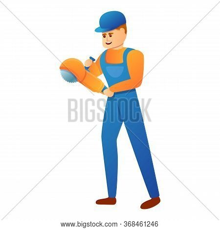 Repairman Angle Grinder Icon. Cartoon Of Repairman Angle Grinder Vector Icon For Web Design Isolated
