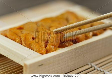 Uni Sushi In Chopsticks. Sea Urchin(uni Sashimi) , Japanese Food.