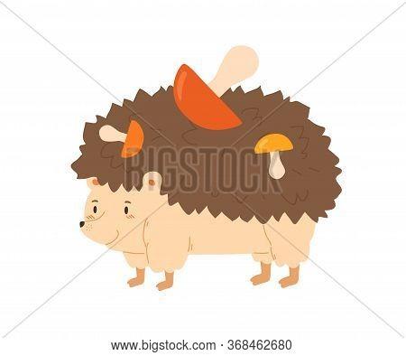 Funny Hedgehog Carrying Colorful Mushrooms Vector Flat Illustration. Hand Drawn Forest Animal Walkin