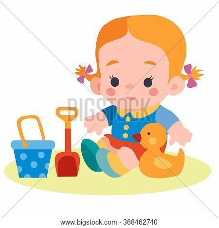 Girl Sitting In A Sandbox With A Bucket And A Spatula And A Duck, Flat, Isolated Object On A White B