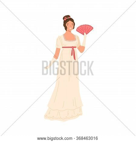 Adorable Young Girl In Retro Style Dress Posing With Fan Vector Flat Illustration. Trendy Woman Wear
