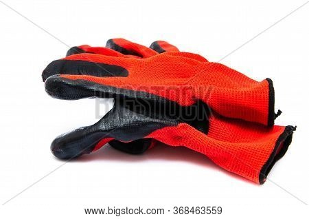 Gloves For Workers, Construction Red With Black Rubber Coating. Black-red Gloves. Gloves On A White