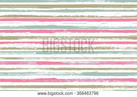 Ink Thin Rough Stripes Vector Seamless Pattern. Abstract Bedding Textile Print Design. Retro Geometr