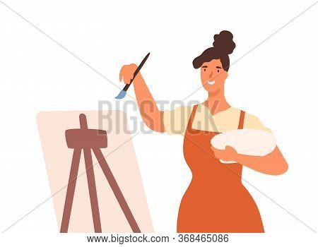 Happy Artistic Female In Apron Drawing Picture Use Paint Vector Flat Illustration. Smiling Woman Pro