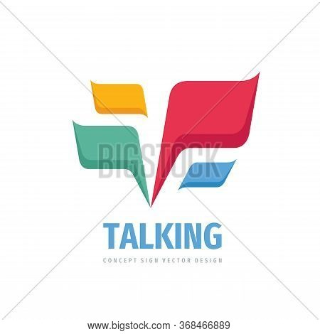 Talking - Speech Bubbles Vector Logo Concept Illustration In Flat Style. Dialogue Icon Logo. Chat Si