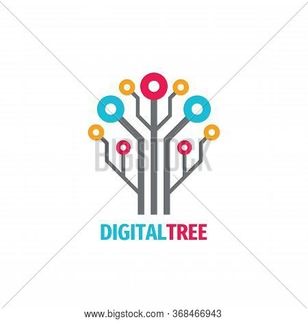 Digital Tree Logo Design. Computer Network Logo Sign. Data Electronic Graphic Logo Symbol. Internet