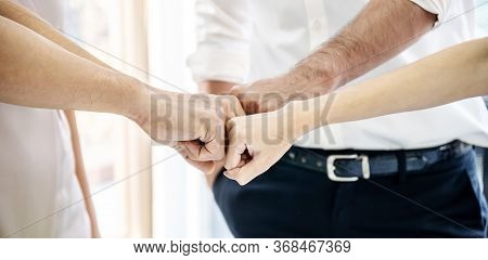 Teamwork Business Join Hand Together Concept, Image Of Hands In Circle As Symbol Of Their Partnershi