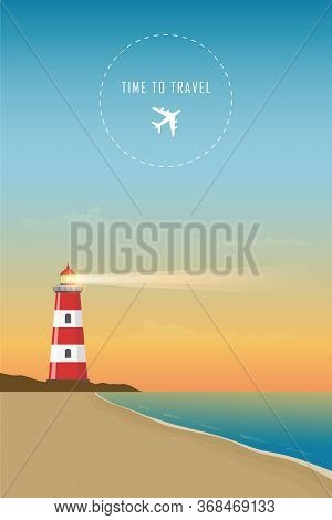 Time To Travel Lighthouse By The Ocean Vector Illustration Eps10