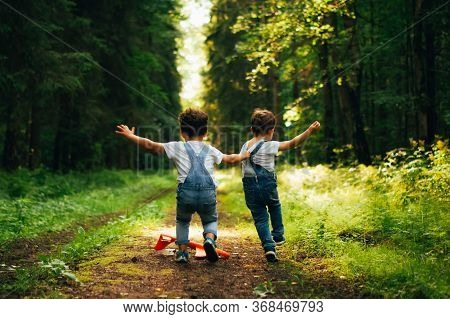 Two Little Boys, Friends Running And Fighting And Playing In Summer Sunny Day In The Forest. Brother