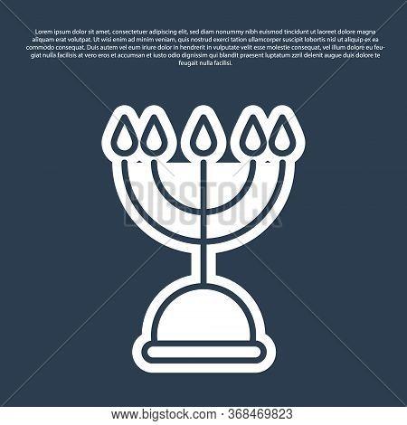 Blue Line Hanukkah Menorah Icon Isolated On Blue Background. Hanukkah Traditional Symbol. Holiday Re
