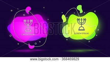 Line Hanukkah Menorah Icon Isolated On Black Background. Hanukkah Traditional Symbol. Holiday Religi