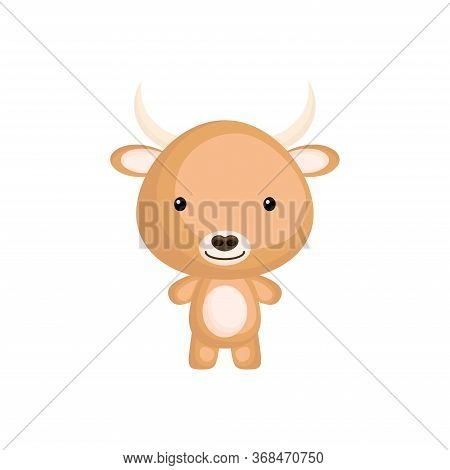 Cute Baby Yak. Adorable Cartoon Animal Character For Decoration And Design Of Album, Scrapbook, Baby