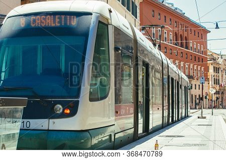 Rome, Italy. May 25, 2020: Electric Tram For Public Transport In The Historic Center Of Rome In Ital