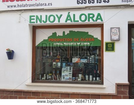 Alora, Spain - May 8, 2020: Small Shop In Andalusian Village Promoting Local Products In English