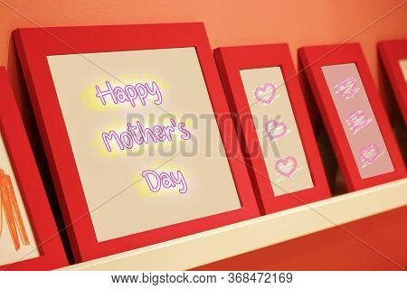 Happy Mother's Day Text On Pink Background With Red Frame, Mother's Day Concept.
