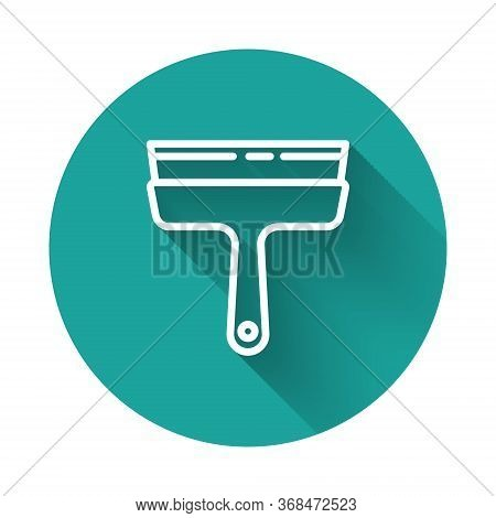 White Line Cleaning Service With Of Rubber Cleaner For Windows Icon Isolated With Long Shadow. Squee