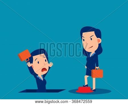 People And Job Insecurity. Business Unemployed And Fired Concept. Business Cartoon Vector Style Desi