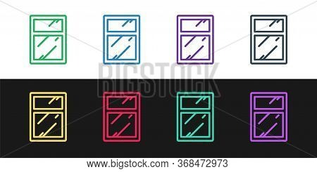 Set Line Cleaning Service For Windows Icon Isolated On Black And White Background. Squeegee, Scraper